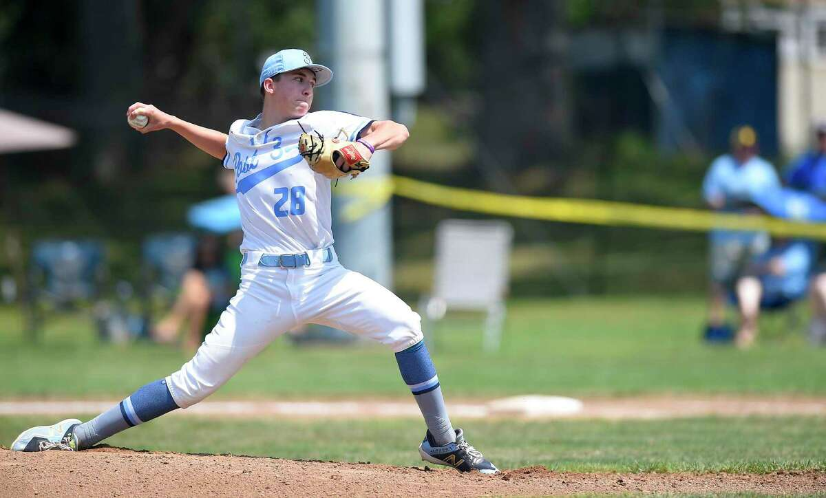 Stamford Pitcher Grant Purpura throws in the first inning against Southington in the Connecticut American Legion Senior Baseball Championship Series at Ceppa Field on Aug. 3, 2019 in Meriden, Connecticut. Stamford won 1-0.