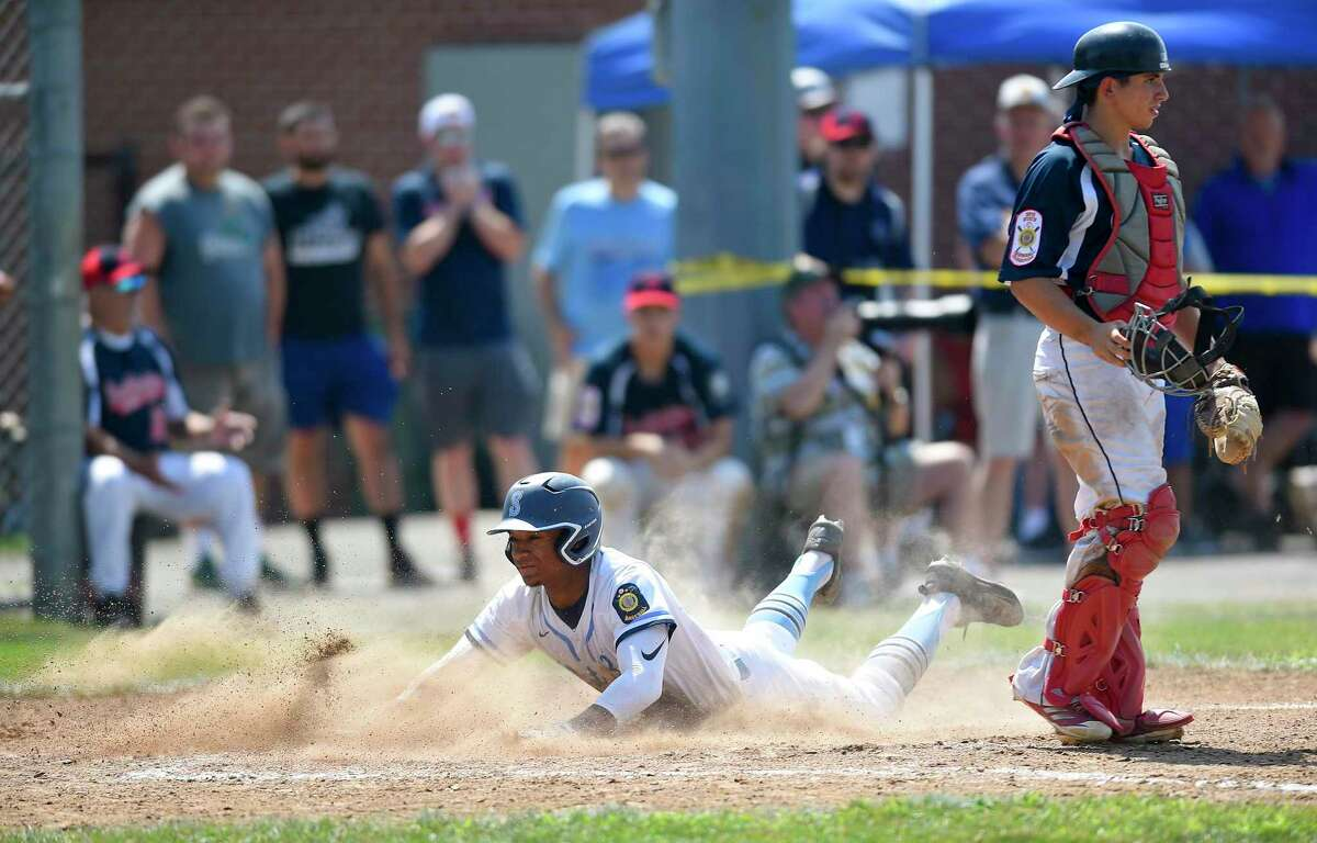 Stamford's Jaden Dawkins scores the game winning run against Southington in the Connecticut American Legion Senior Baseball Championship Series at Ceppa Field on Aug. 3, 2019 in Meriden, Connecticut. Dawkins scored on a T.J. Wainwright RBI single in the top of the seventh inning.