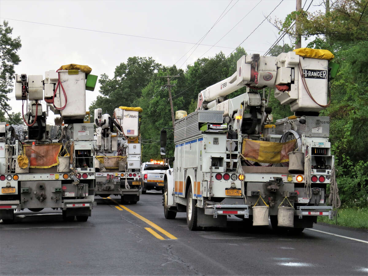 National Grid responds to downed wires cause by a storm Saturday Aug. 3 on Route 9W in Selkirk.