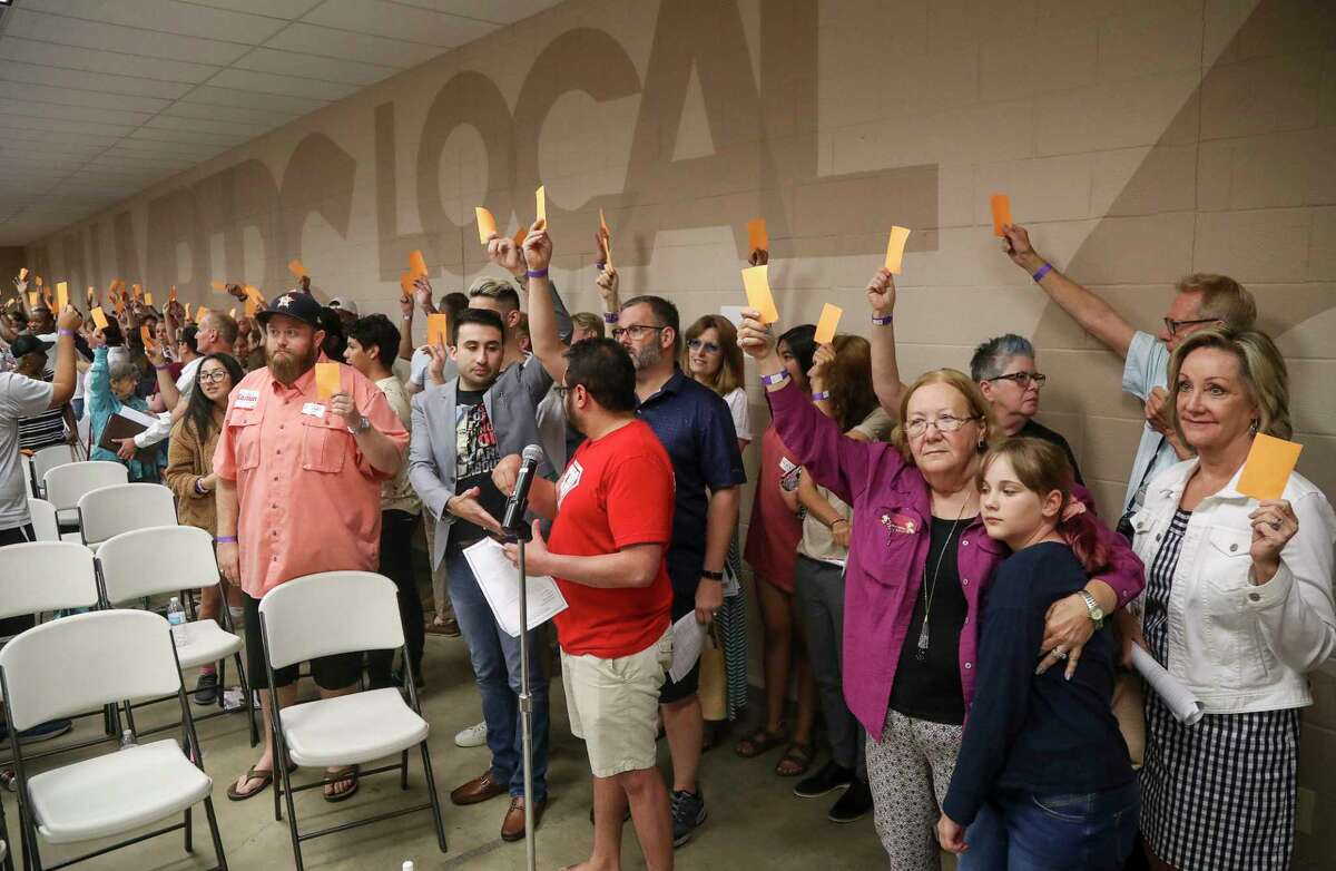 Members of the Houston GLBT Political Caucus vote for Houston City Council At-Large Position 5 on Saturday, Aug. 3, 2019, in Houston.
