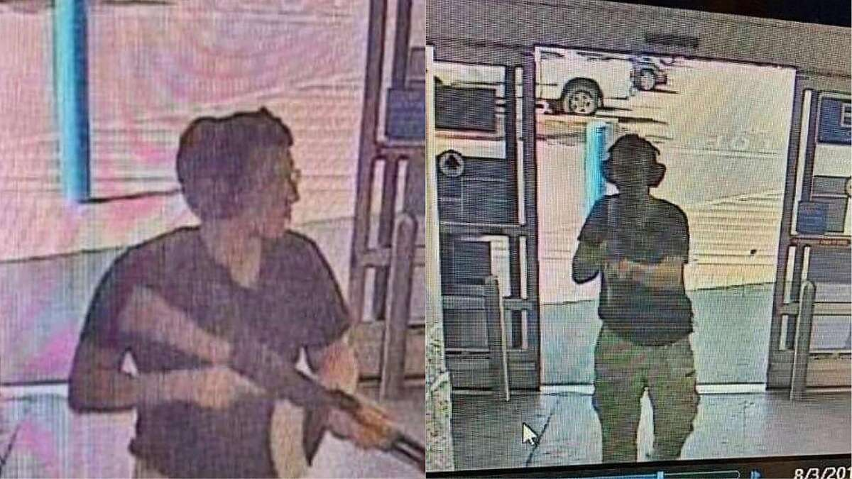 """The suspect allegedly used an AK-47 style rifle, similar to the type of weapon used in the recent Gilroy Festival shooting in California, and the Dayton, OH shooting that occurred on Sunday. This CCTV image obtained by KTSM 9 news channel shows the gunman identified as Patrick Crusius, 21 years old, as he enters the Cielo Vista Walmart store in El Paso on august 3, 2019. - A gunman armed with an assault rifle opened fire on shoppers at a packed Walmart store, reportedly killing at least 15 people in the latest mass shooting in the United States. Although the exact scale of the tragedy in El Paso, Texas, was not yet known, television networks put the numbers of dead at between 15 and 20 while medics reported treating dozens of victims. (Photo by Courtesy of KTSM 9 / KTSM 9 news Channel / AFP) / RESTRICTED TO EDITORIAL USE - MANDATORY CREDIT """"AFP PHOTO / Courtesy of KTSM 9 News Channel"""" - NO MARKETING - NO ADVERTISING CAMPAIGNS - DISTRIBUTED AS A SERVICE TO CLIENTSCOURTESY OF KTSM 9/AFP/Getty Images"""
