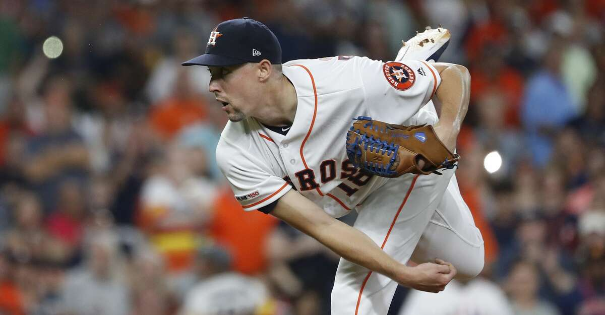 PHOTOS: 2019 Astros game-by-game  Fans turn on their phone flashlights as Houston Astros starting pitcher Aaron Sanchez (18) pitched during the sixth innning of an MLB game at Minute Maid Park, Sunday, August 3, 2019. >>>See how the Astros have fared in each game this season ...