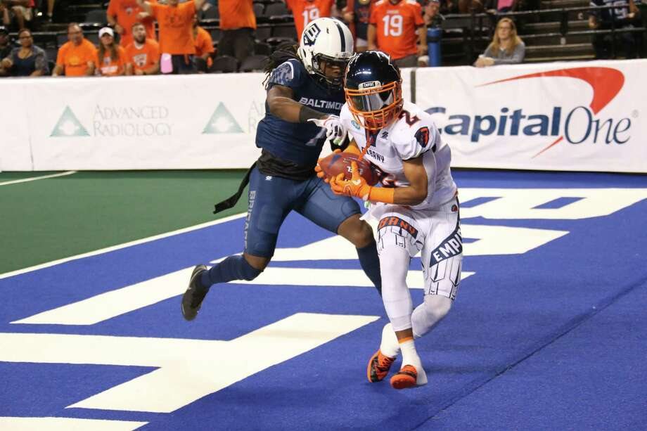 D.J. Stephens reaches the end zone on a 41-yard pass play from Albany quarterback Tommy Grady to start the scoring Saturday in the Empire's 62-21 victory in the second game of the two-game aggregate scoring series in Baltimore on Saturday, Aug. 3. (Ned Dishman / Arena Football League)