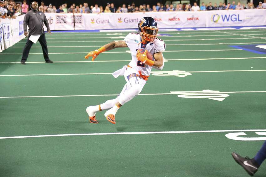 Albany receiver D.J. Stephens gets stopped just before the end zone on a catch against Baltimore during the Empire's 62-21 victory in the second game of their two-game aggregate score playoff series in Baltimore on Saturday, Aug. 3, 2019. (Ned Dishman / Arena Football League)