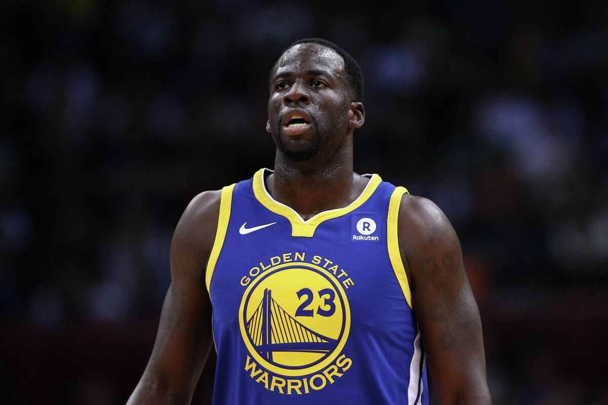 SHENZHEN, CHINA - OCTOBER 05: Draymond Green #23 of the Golden State Warriors looks on during the game between the Minnesota Timberwolves and the Golden State Warriors as part of 2017 NBA Global Games China at Universidade Center on October 5, 2017 in Shenzhen, China. (Photo by Zhong Zhi/Getty Images) ORG XMIT: 775022678