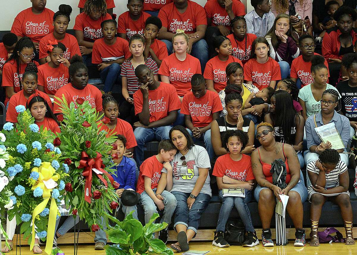 Members of the community, including a bleacher section filled with school mates, and family gather in the gymnasium at Jasper Junior High School for Nicholas Trevon McBride's funeral services Saturday. The 12-year-old was accidentally shot and killed last weekend. Photo taken Saturday, August 3, 2019 Kim Brent/The Enterprise