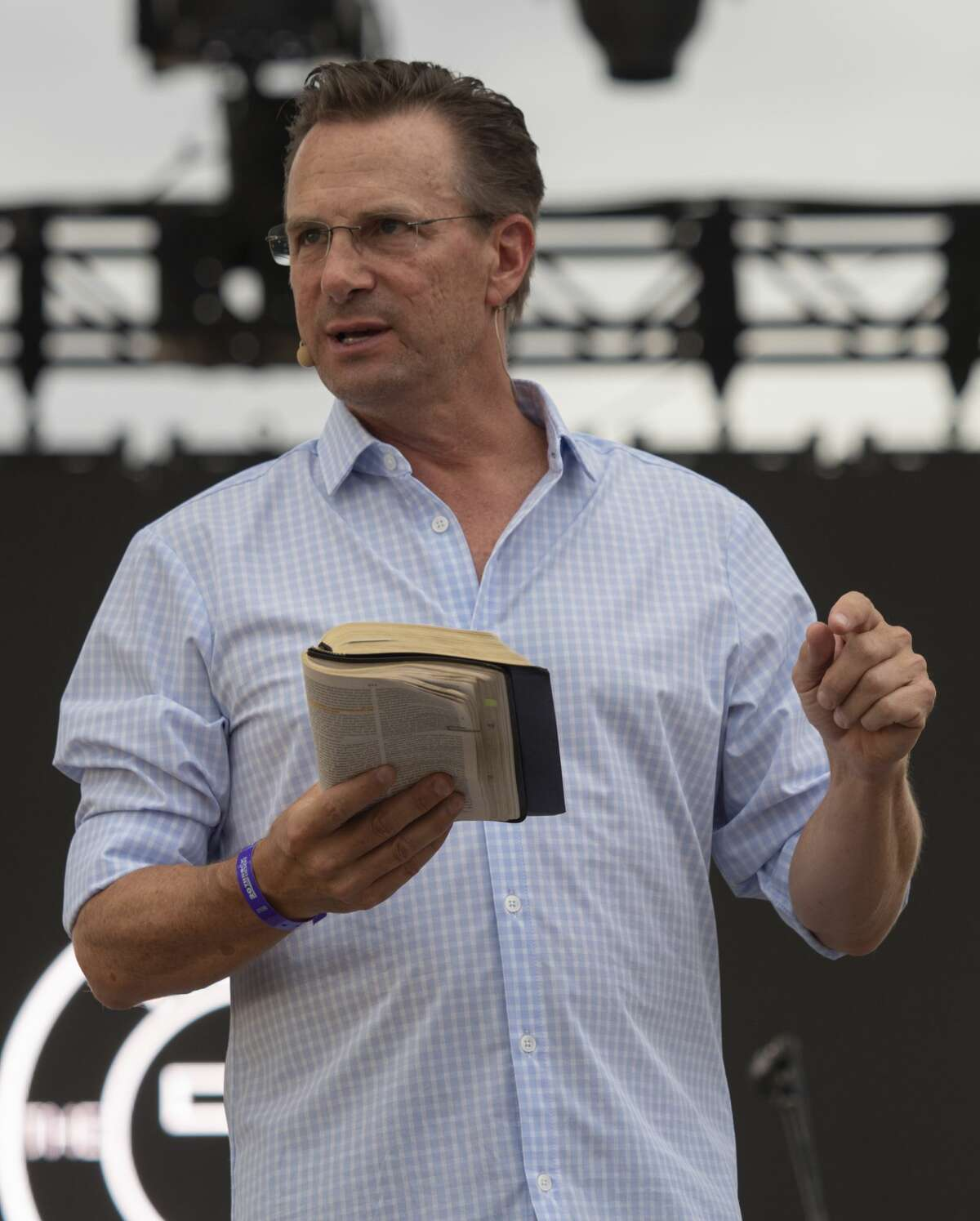Patrick Payton, former pastor of Stonegate Fellowship Church, preaches from the main stage 08/03/19 at Rock the Desert. Tim Fischer/Reporter-Telegram