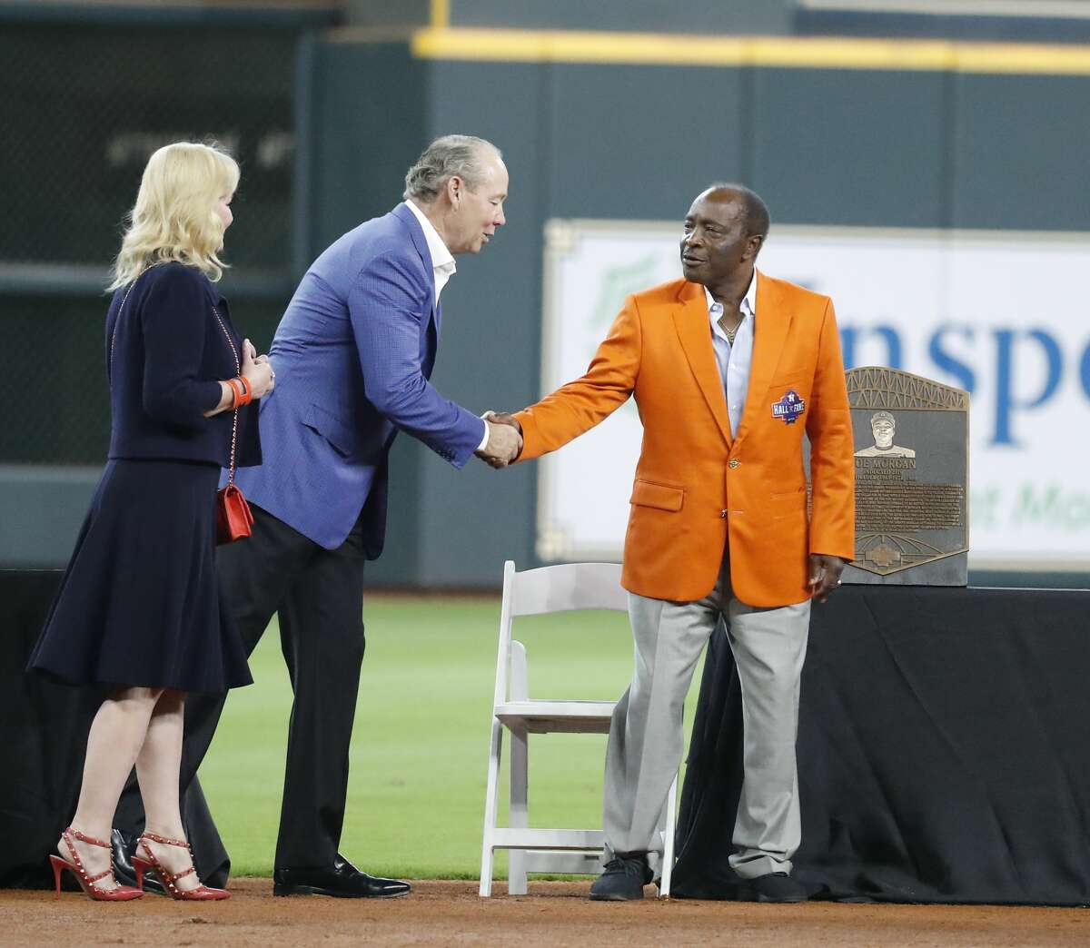 Joe Morgan during the Houston Astros inagural Hall of Fame induction ceremony before the start of an MLB game at Minute Maid Park, Sunday, August 3, 2019.