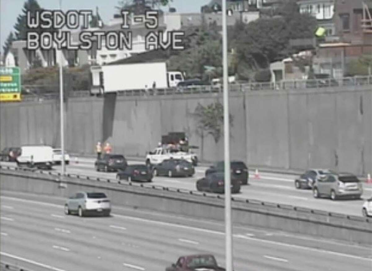Large truck ends up partially dangling over I-5 in Seattle (WSDOT Photo). Keep clicking for more information on Seattle's most crash-prone spots.