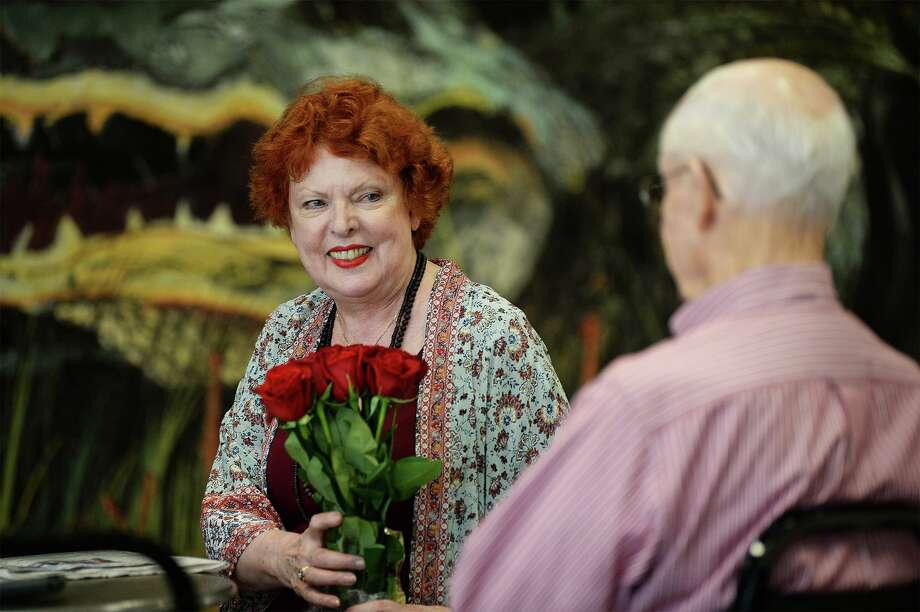 Famed opera singer Joyce Castle talks to her brother-in-law John Raney, 86, at the Jack Brooks Regional Airport on Thursday. Beaumont born, Castle has performed at the New York Metropolitan Opera and in several other countries.  Photo taken Thursday, 8/1/19 Photo: Guiseppe Barranco/The Enterprise, Photo Editor / Guiseppe Barranco ©