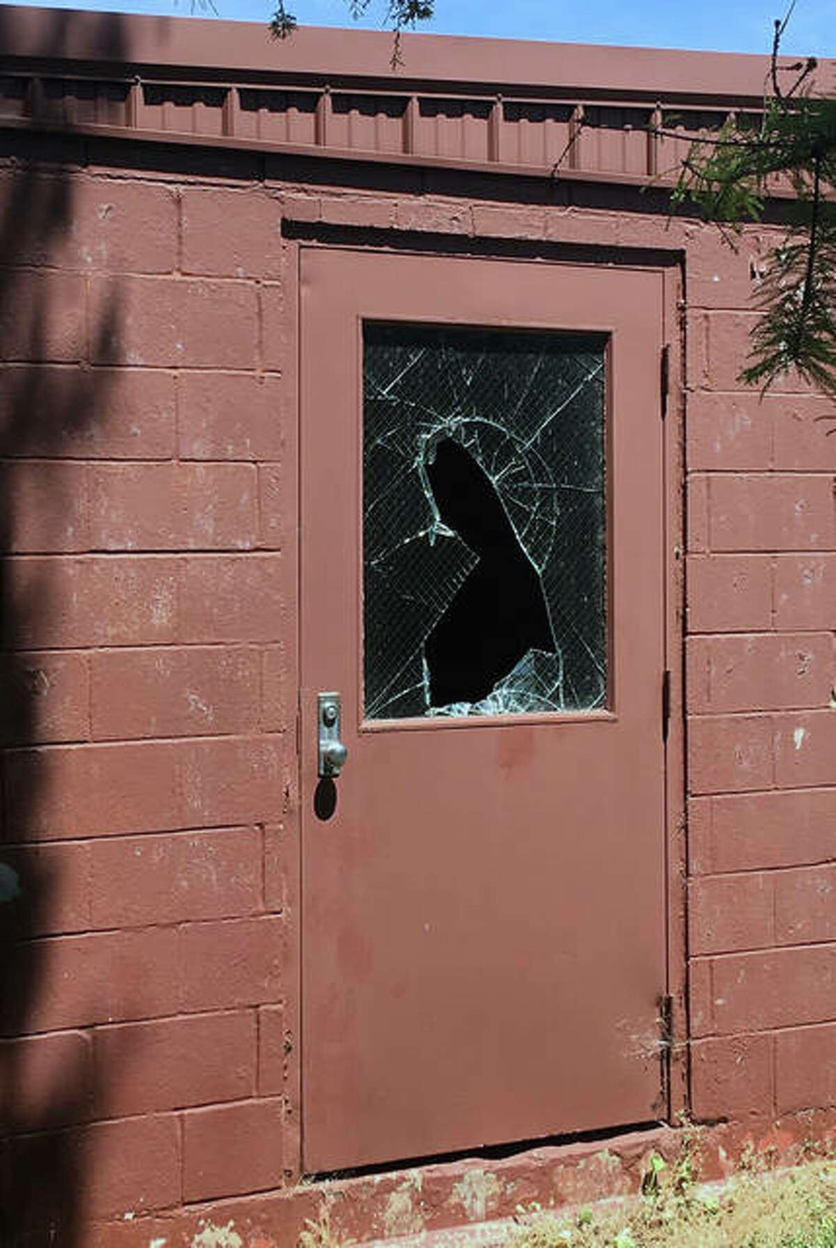Some of the damage done on the grounds of the former Jacksonville Developmental Center includes broken windows.