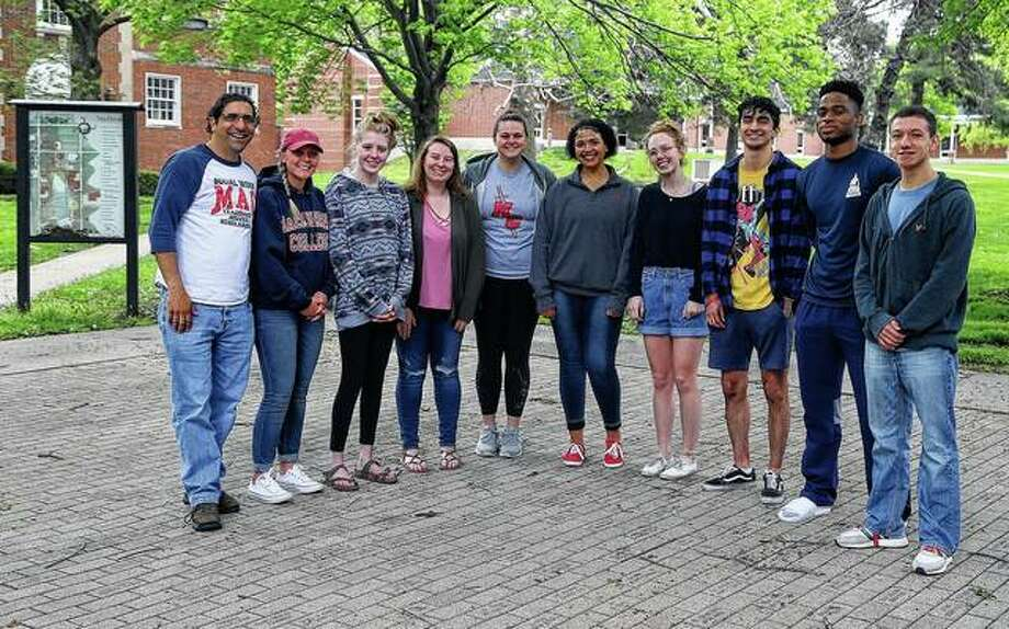 Those who will spend a semester in Canterbury, England, as part of a new cooperative between MacMurray College and Canterbury Christ Church University are professor Joseph Squillace, Brooklynn Allen, Megan Evans, Ashley Wittekiend, Peyton Spitzner, Ravin Kibbons, Ali Morton, Luis Carbajal, Ezechukwu Nwagbaraji and Cody Zulkowski. Photo: Photo Provided