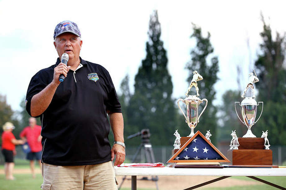 Dennis Sharp addresses the crowd as he presents trophies at the conclusion of the 2015 American Legion Great Lakes Regional. Sharp is stepping down as Post 126 general manager after 23 years. Photo: Billly Hurst File | For The Telegraph