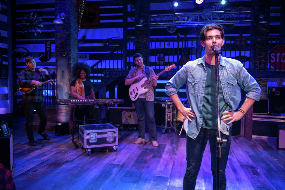 """Matt Rodin, right, co-stars in """"Beau """" at Adirondack Theatre Festival with other actor-musicians including, from left, Max Sangerman, Olivia Griffin and Jeremy Sevelovitz. (ATF publicity photo.)"""