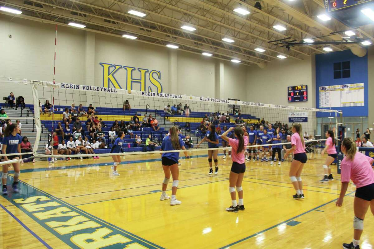 Tomball Memorial and Klein compete against each other during a volleyball scrimmage, Aug. 3, at Klein High School.