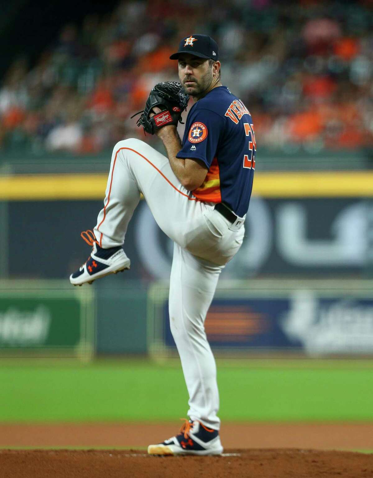 Houston Astros starting pitcher Justin Verlander (35) throws the ball against the Seattle Mariners during the first inning of an MLB game at Minute Maid Park Sunday, Aug. 4, 2019, in Houston.