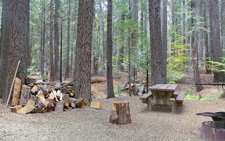 A gorgeous wooded campsite at Cherry Valley Campground on Cherry Lake in Stanislaus National Forest
