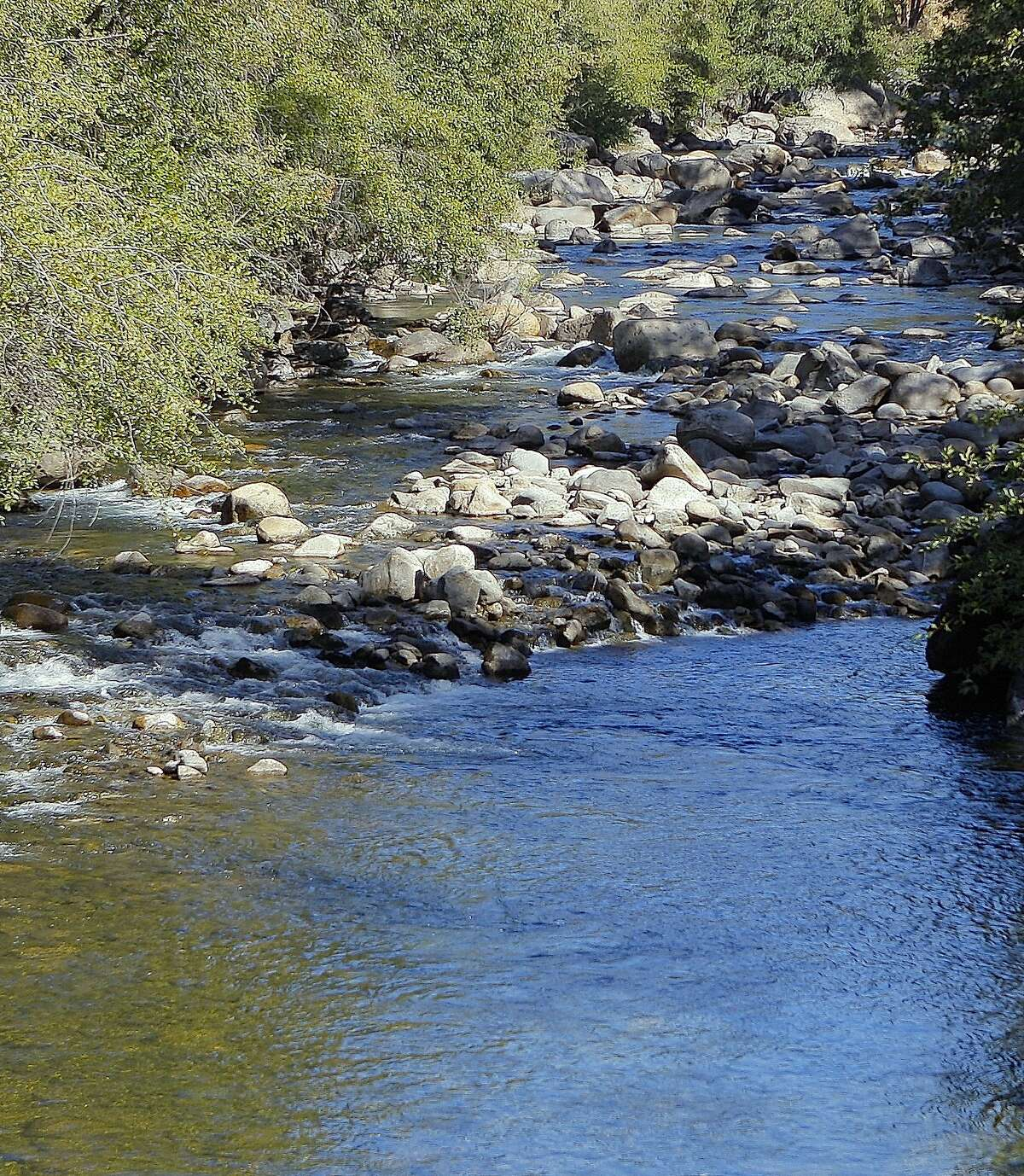 On the road to Cherry Lake in Stanislaus National Forest, you cross over the upper Tuolumne River downstream of Cherry Creek