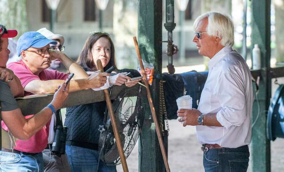McKinzie's trainer Bob Baffert speaks to the media the morning after his win in The Whitney at the Saratoga Race Course Sunday, Aug. 4, 2019 in Saratoga Springs, N.Y.  Photo Special to the Times Union by Skip Dickstein