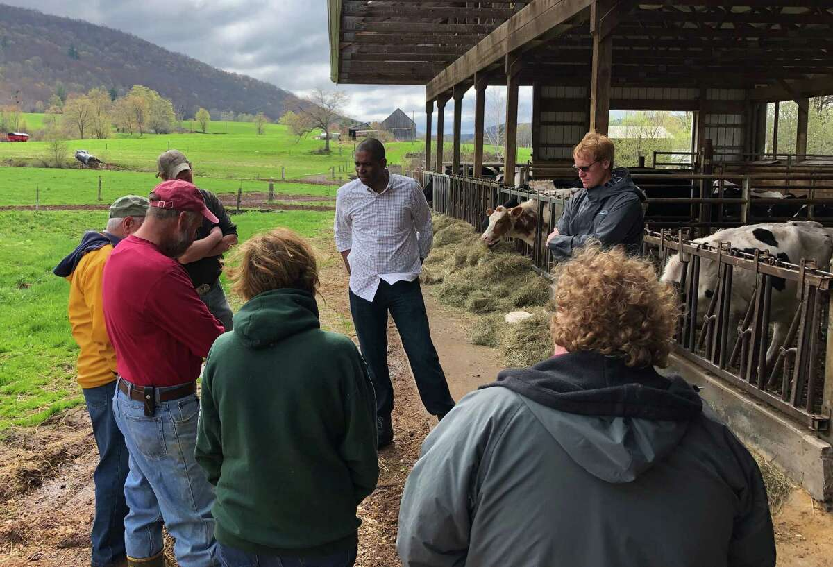 U.S. Rep. Antonio Delgado tours a farm in his district. Rep. Delgado saw his first ag-related bill pass the House. The bill helps farmers manage debt more effectively through Chapter 12. (Courtesy Rep. Delgado)