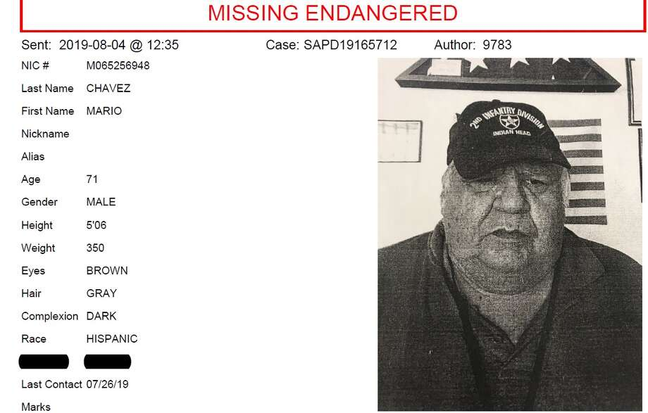 According to police, Mario Chavez, 71, has medical conditions requiring he sees a doctor regularly. Photo: Courtesy San Antonio Police Department