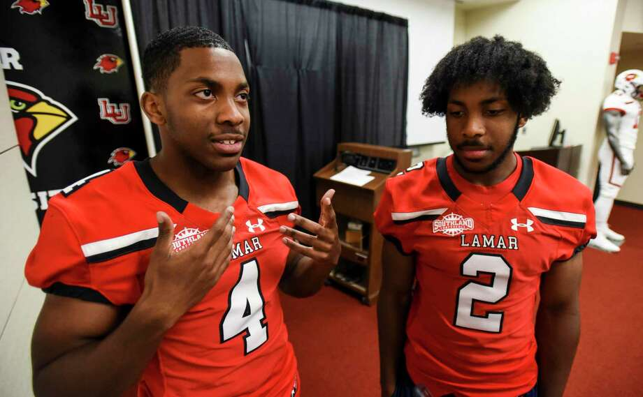 Brothers Steven, left, and James Jones speak to members of the press during Lamar media day and opening of football training camp on Tuesday. Photo taken on Tuesday, 07/30/19. Ryan Welch/The Enterprise Photo: Ryan Welch, Beuamont Enterprise / The Enterprise / ©Ryan Welch