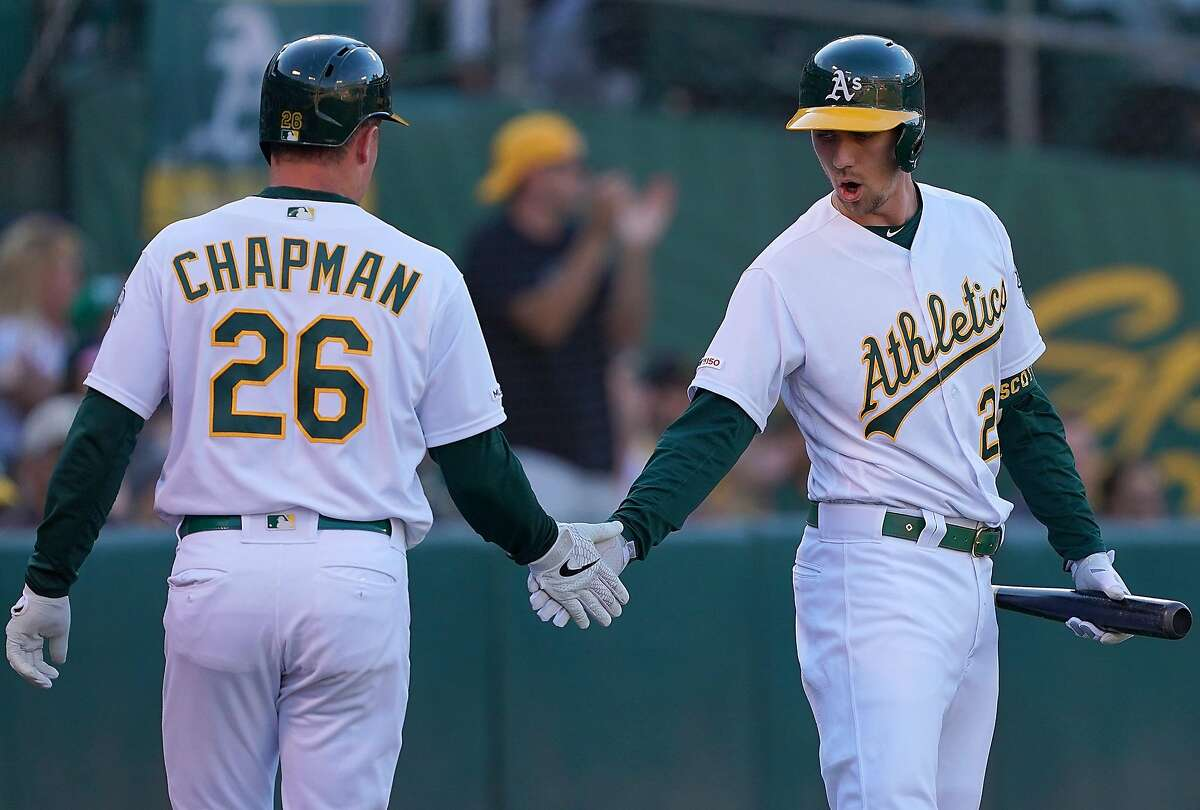 OAKLAND, CA - AUGUST 03: Matt Chapman #26 of the Oakland Athletics is congratulated by Stephen Piscotty #25 after Chapman scored against the St. Louis Cardinals in the bottom of the first inning at Ring Central Coliseum on August 3, 2019 in Oakland, California. (Photo by Thearon W. Henderson/Getty Images)