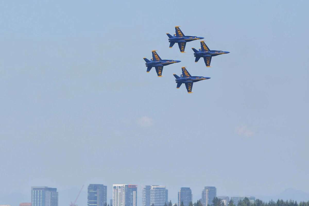 The U.S. Navy Blue Angels perform on the final day of the annual Seafair Weekend at Genesee Park, Saturday, Aug. 3, 2019.