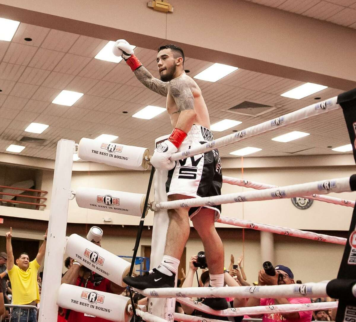 San Antonio boxer Henry Arredondo celebrates on the ropes after his second- round knockout victory over Alejandro Moreno in this Aug. 4, 2019, file photo.