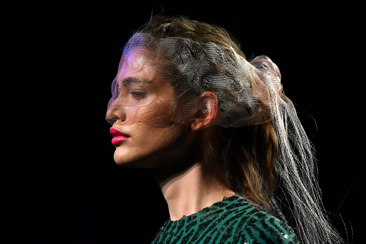 Brazilian model Valentina Sampaio presents a creation from Spanish designer Miguel Marinero's Spring/Summer 2020 collection during the Mercedes Benz Fashion Week in Madrid on July 10, 2019. (Photo by GABRIEL BOUYS / AFP)GABRIEL BOUYS/AFP/Getty Images