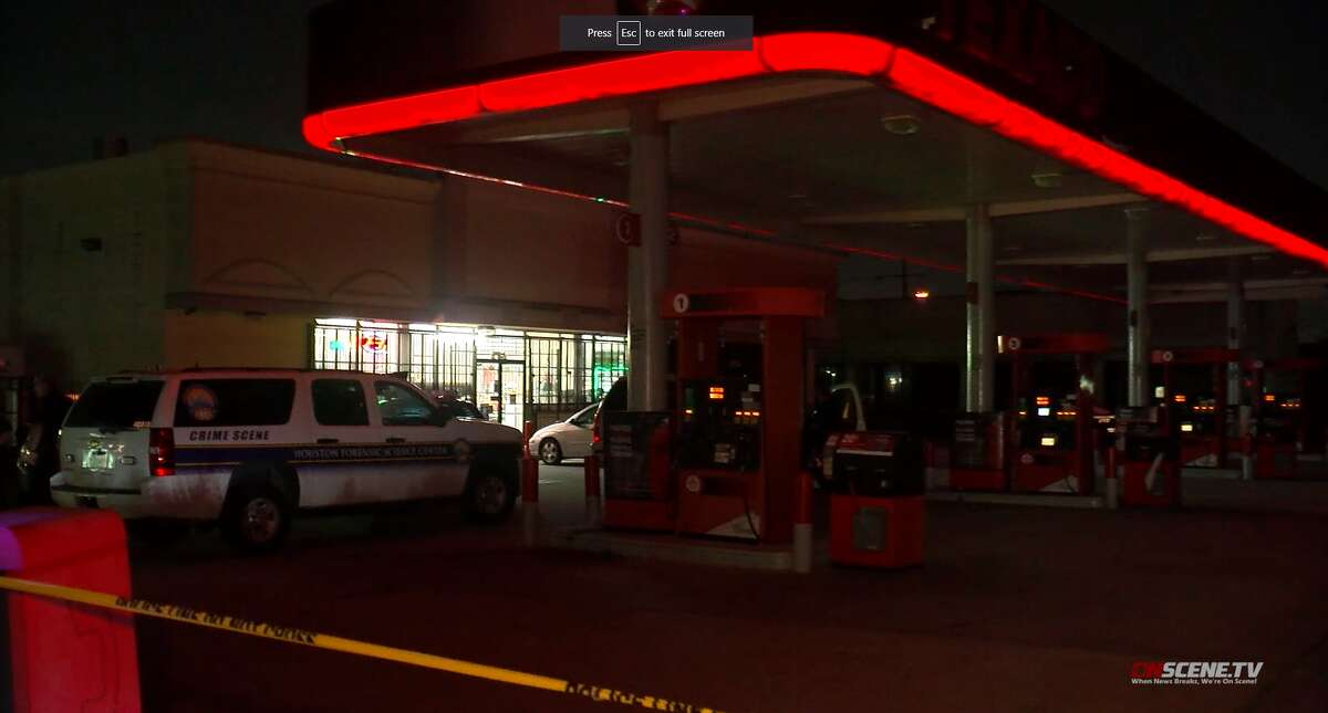 Houston police investigate a robbery Sunday, Aug. 4, that left a store clerk dead in the 14900 block of Old Humble road.