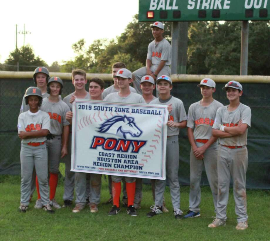 The NASA-Orange Pony 14-year-old all-stars, shown with their Coast Region title banner from last month, won a South Zone Tournament-high six games, but they had to settle for the runner-up banner. Photo: Greg Beversdorf