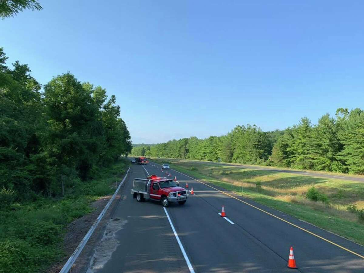 """Traffic cones were set up on Route 7 in Brookfield on Sunday, Aug. 5, 2019 after about 20 grallons of gas spilled from a ruptured fuel tank. The cones were set up about a quarter mile from the spill to slow traffic on the highway. """"As always please slow down and move over to allow us to operate safely,"""" the Brookfield Volunteer Fire Department said."""