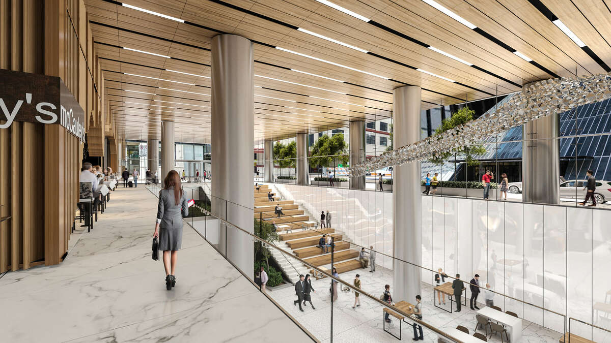 Artist rendering of Understory, the 35,00-square-foot community hub and culinary market that will mark its grand opening the week of Aug. 12 at the Bank of America Tower, 800 Capitol, in downtown Houston.