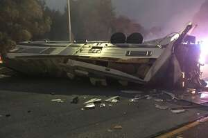 An RV pulling a trailer overturned near Seminary Ave on eastbound I-580 in Oakland earlier this morning.