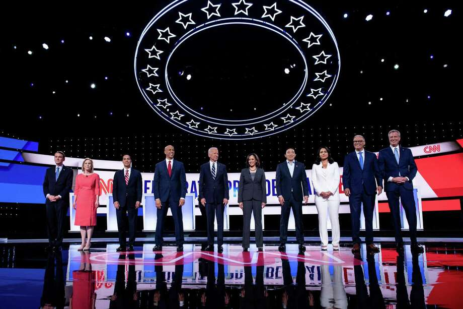 Democratic presidential hopefuls participate in the second round of the second Democratic primary debate last week. Photo: Getty Images / AFP