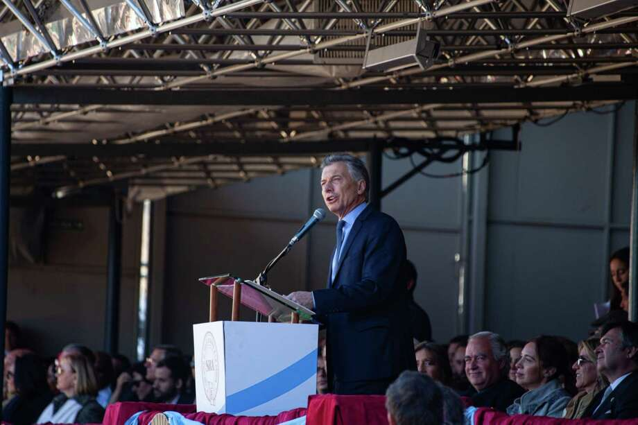 Argentine President Mauricio Macri speaks at La Exposicion Rural agricultural and livestock show in the Palermo neighborhood of Buenos Aires, Argentina, on Aug. 3, 2019. Photo: Bloomberg Photo By Erica Canepa. / © 2019 Bloomberg Finance LP
