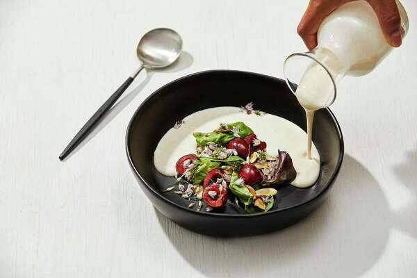 Almond Gazpacho With Cherries and Flowers