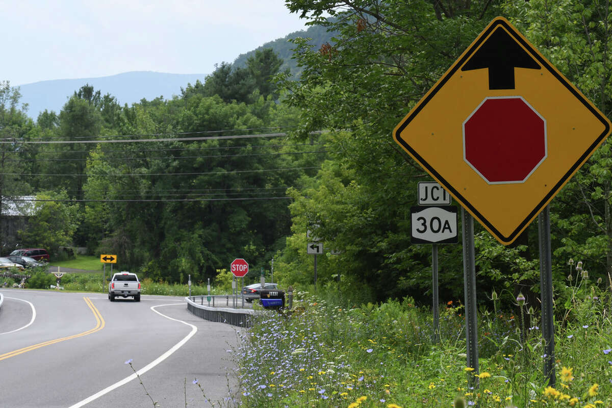 The same road signage still exists at the approach to the deadly intersection at Route 30 and 30A where 20 people were killed in a tragic 2018 limousine crash on Wednesday, July 31, 2019, in Schoharie, N.Y. Little, if anything, appears to have been done to improve safety at the fatal intersection since the deadly October crash. (Will Waldron/Times Union)