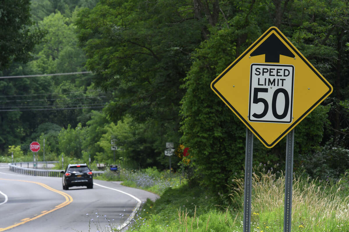The same road signage still exists at the approach to the deadly intersection at Route 30 and 30A where 20 people were killed in a tragic 2018 limousine crash on Wednesday, July 31, 2019, in Schoharie, N.Y. Little, if anything, appears to have been done to improve safety at the fatal intersection since the October crash. (Will Waldron/Times Union)