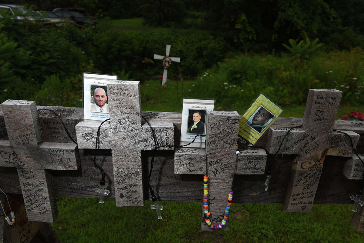 A memorial for the Schoharie limousine crash victims still stands at the site of the fatal 2018 crash that killed 20 people at the intersection of Route 30 and 30A on Wednesday, July 31, 2019, in Schoharie, N.Y. (Will Waldron/Times Union)