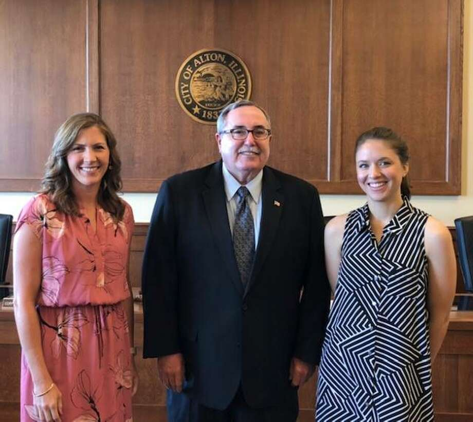 Attorney John Hopkins, center, returns as board chairman and is joined by Lauren Pattan of Old Bakery Beer as vice chair and Kristi Hyten of Edwardsville as secretary/treasurer. Photo: Courtesy Of Great Rivers & Routes Tourism Bureau