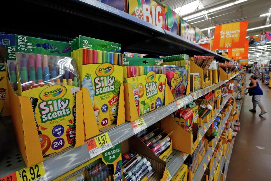"FILE- This July 19, 2018, file photo shows a display of scented markers and crayons in a Walmart in Pittsburgh. Environmentally friendly school supplies often carry big prices, but if you expand your idea of what counts as ""green,"" you'll open other ways to save. (AP Photo/Gene J. Puskar, File) Photo: Gene J. Puskar / Associated Press / Copyright 2019 The Associated Press. All rights reserved."