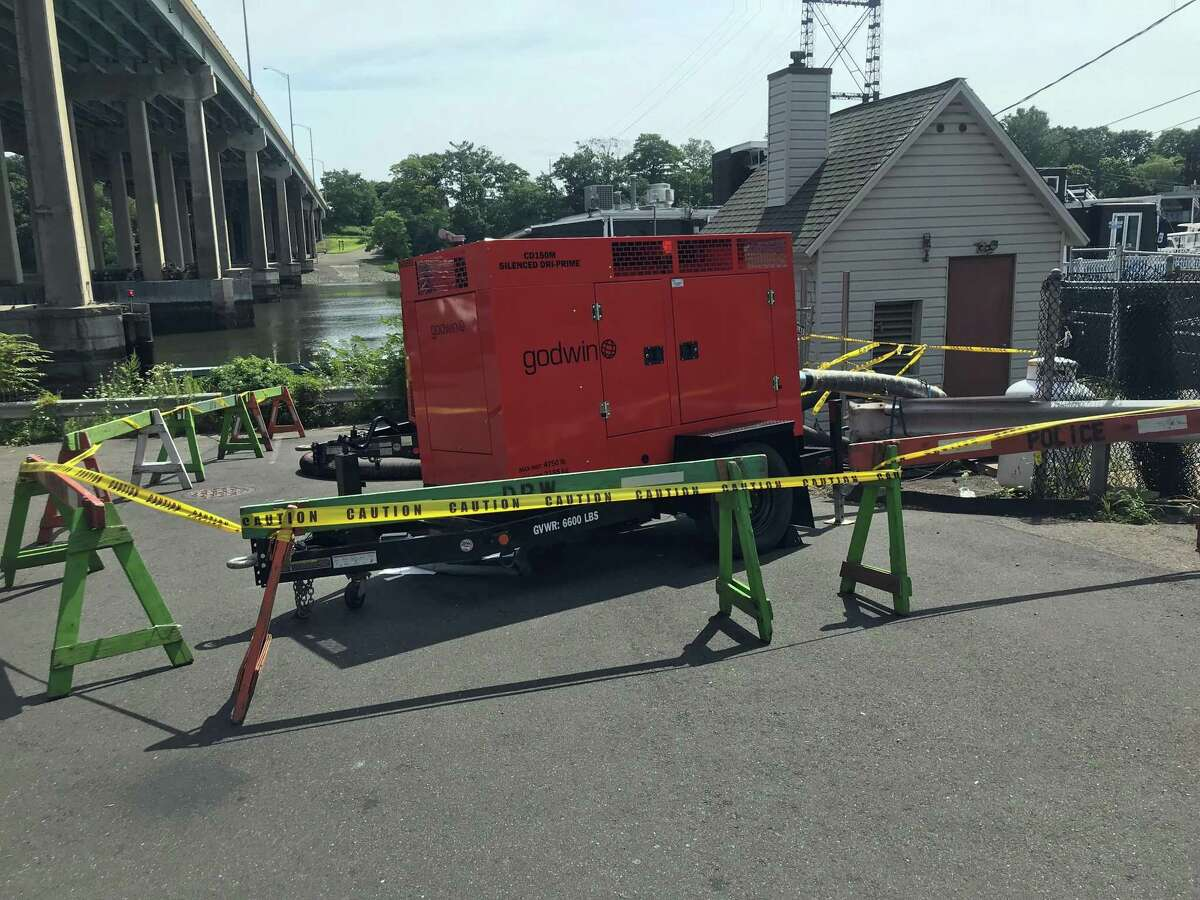 A town sewage pump installation has been roped off after a sewage leak was reported over the weekend. Taken Aug. 5, 2019 in Westport, CT.