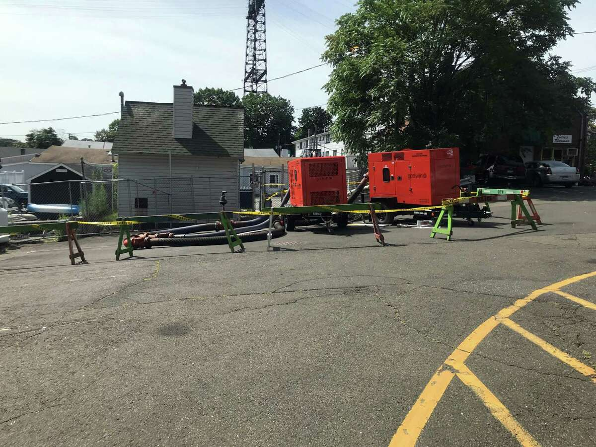 A town sewage pump installation on Riverside Avenue near the Black Duck has been roped off after a report of a sewage leak. Taken Aug. 5, 2019 in Westport, CT.