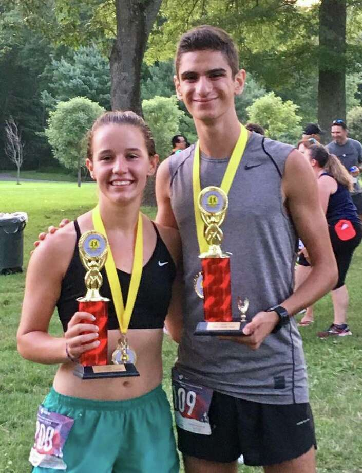 Trumbull's Kate Romanchick and Chris Lepore took first at the Sunset Run and the MAAD 5K. Photo: Contributed Photo / Sunset Run 5K / Trumbull Times