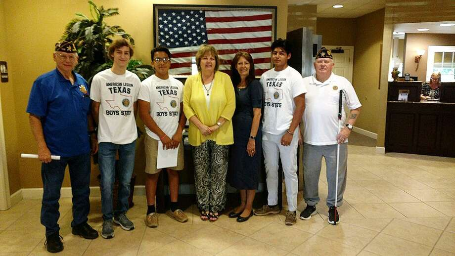 The young men who attended Boys State visited each of the banks who supported them financially and made it possible for them to attend. At Dayton Allegiance Bank, from left, Mike Key, Post Service Officer; Nolan Myers-LHS; Justin Valle-HDHS; Arlene Langham-Bank Senior VP; Beverly Humphries-Bank Office Manager; Rafael Martinez-LHS; Jerry Killion- Post Adjutant. Photo: Submitted