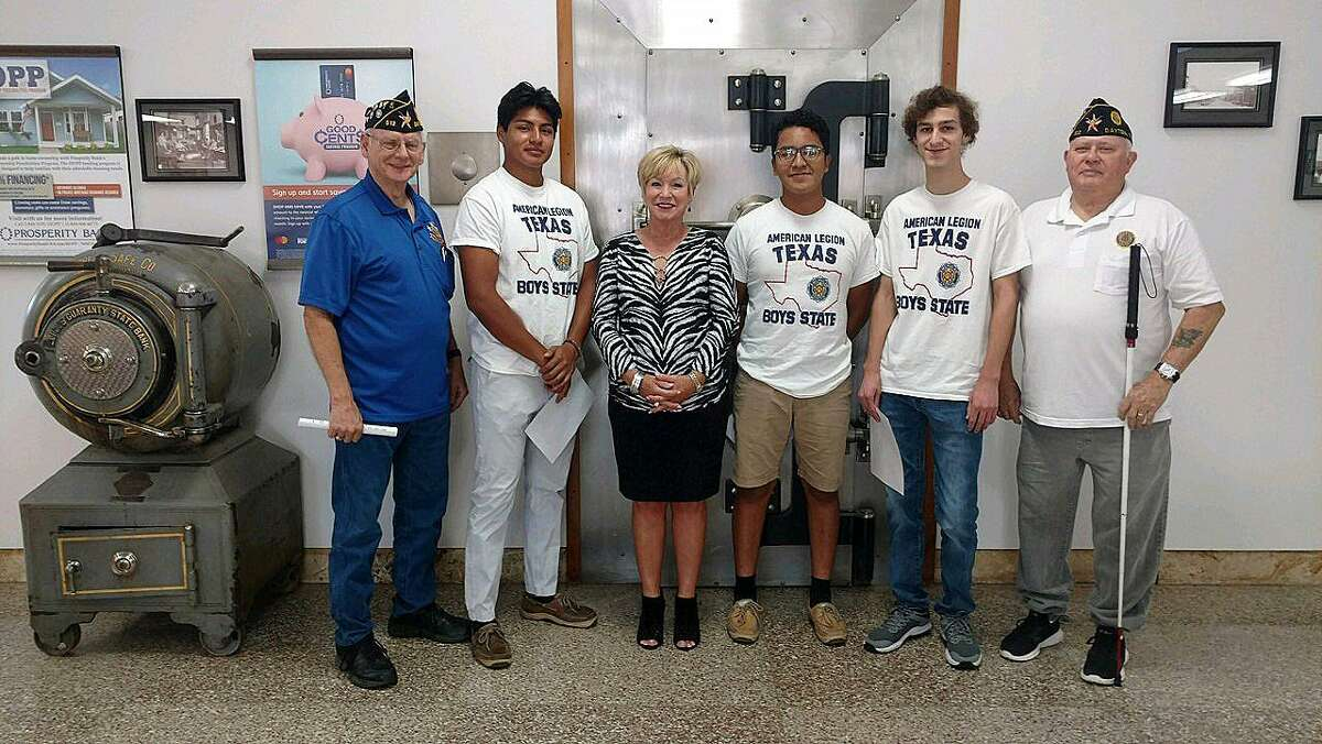The young men who attended Boys State visited each of the banks who supported them financially and made it possible for them to attend. At Dayton Prosperity Bank, from left, Mike Key-Post Service Officer; Rafael Martinez-LHS; Terri Beene-Bank President; Justin Valle-HDHS; Nolan Myers-LHS; and Jerry Killion-Post Adjutant.