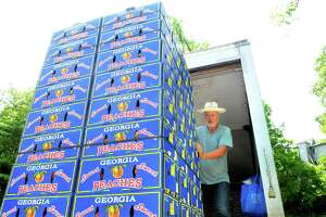 Steven Ypma, with the Georgia Peach Truck, works to unload a pallet of peaches, as the truck makes a stop at McArdle's Florist & Garden Center as part of its East Coast Road Trip 2019 in Greenwich, Conn., on Saturday August 3, 2019. The truck delivered farm-to-street boxes of Rolling Freestones, the freestone Georgia peaches from Dickey Farms. The line to purchase the peaches stretched through the entire garden center.