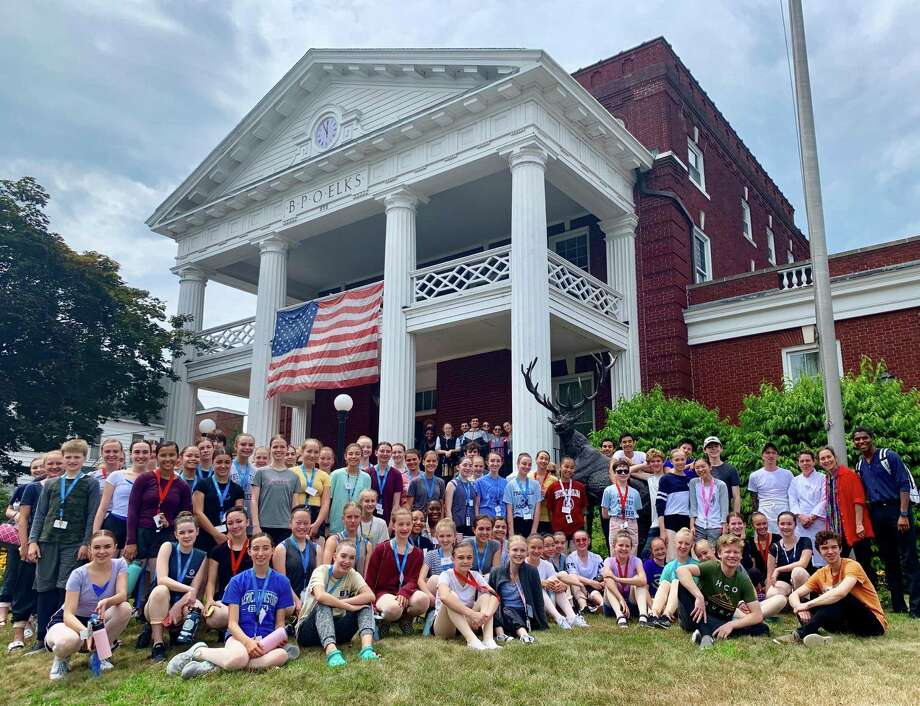 Summer residency students from Nutmeg Ballet Conservatory join staff members from Nutmeg and Torrington Elks Lodge 372 after a recent lunch at the Elks. Photo: Contributed Photo